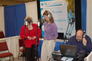 Everyday mom Heather Blish records her show for the Oshkosh Chamber of Commerce
